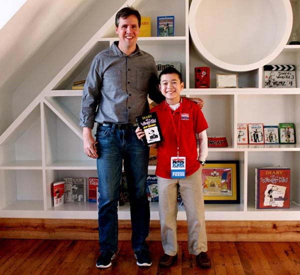 Max with Jeff Kinney at An Unlikely Story