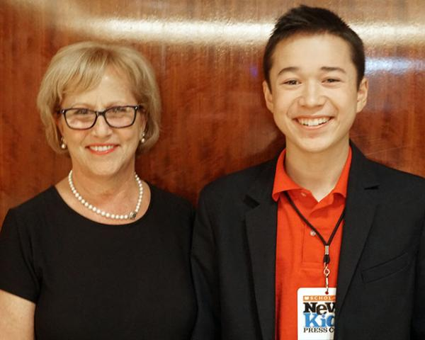 Kim Defibaugh, president of the board of the National Art Education Association (NAEA), and Max