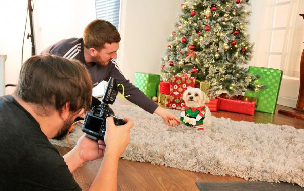 Snowball on set during a holiday photo shoot for a major online retailer.