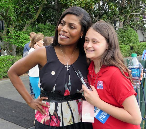 Courtney with Omarosa Manigault, a White House communications official