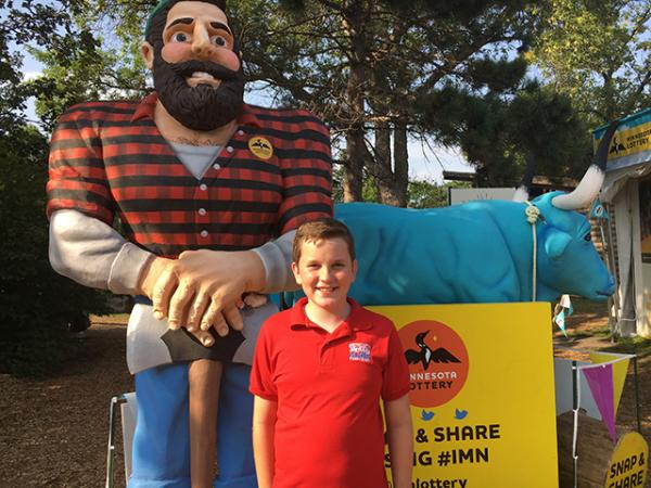 Ryan with Paul Bunyan and the Ox