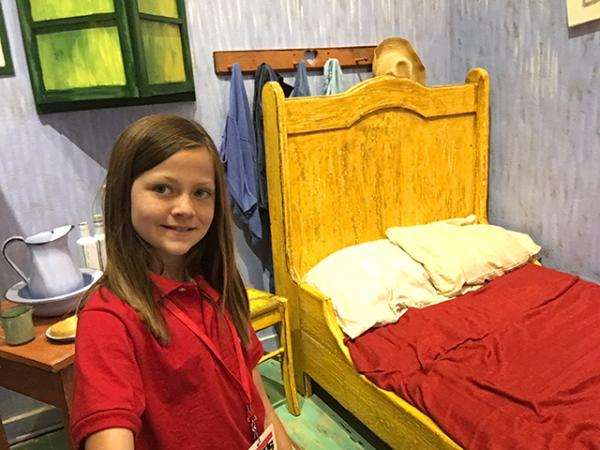 Annika Petras in an adaption of Vincent Van Gogh's Bedroom in Arles.