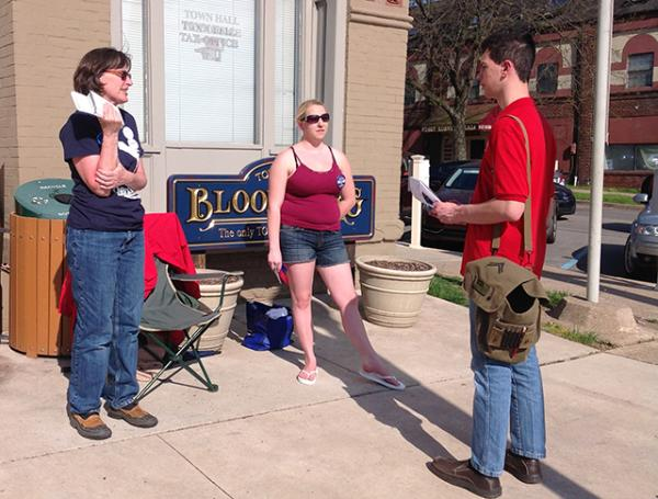 Poll workers, Jill Carlson (D) and Carissa Jones (R) share their views with Erik on why there is a high voter turnout.