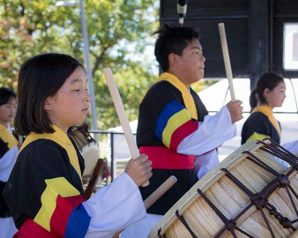 The Korean drumming group.