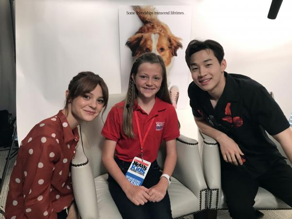 Annika Petras with Kathryn Prescott and Henry Lau, who act in A Dog's Journey.