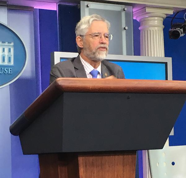 John P. Holdren, Assistant to the President for Science and Technology, talks about STEM education on January 13 at the White House.