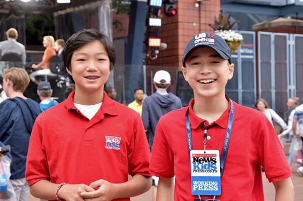 Maxwell (right) with fellow Kid Reporter Stone Shen at the U.S. Open tennis tournament in New York City