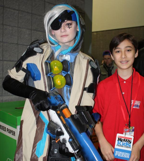 Daniel and Taylor Peed dressed as Ana from the popular video game Overwatch