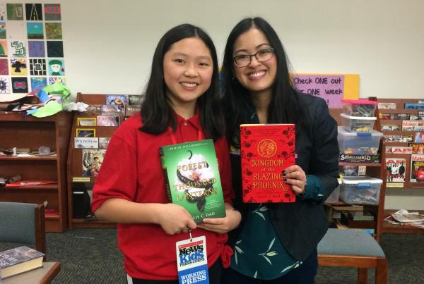 Teresa gets writing tips from fantasy author Julie C. Dao at Smith Middle School in Chapel Hill, North Carolina. Photo courtesy of the author