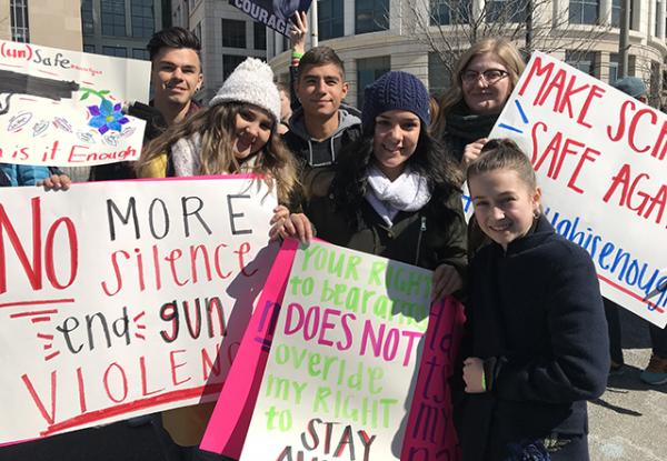 Amelia with student protesters at the March for Our Lives in Washington, D.C.