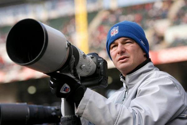 Josefczyk bundled up to photograph a Cleveland Browns NFL game in Ohio.