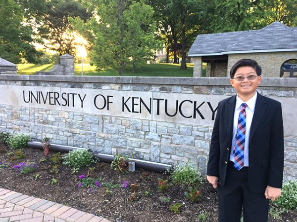 Alex at the University of Kentucky in Lexington, which hosted this year's Middle School Tournament of Champions