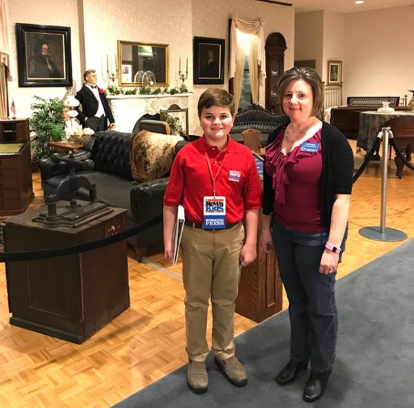 Nolan with Kim Kenney, Assistant Director & Curator.  In the McKinley Gallery guests view a large display of the home furnishings of the twenty-fifth president, along with a talking animatronic of McKinley and his wife Ida.