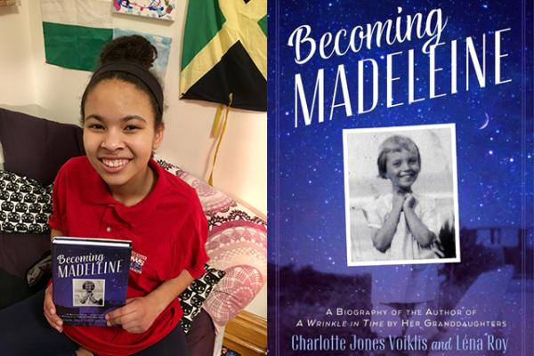 Adedayo with a copy of Becoming Madeleine
