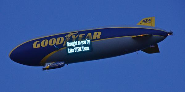 A message from computer science students at Lake High School in Uniontown, Ohio, who sometimes program messages on the blimp.