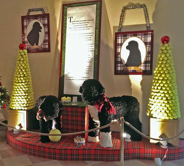 One display featured the Obama family's dogs.
