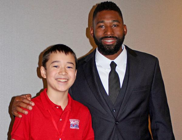 Max with Jackie Bradley, Jr. at the Boston Baseball Writers Dinner