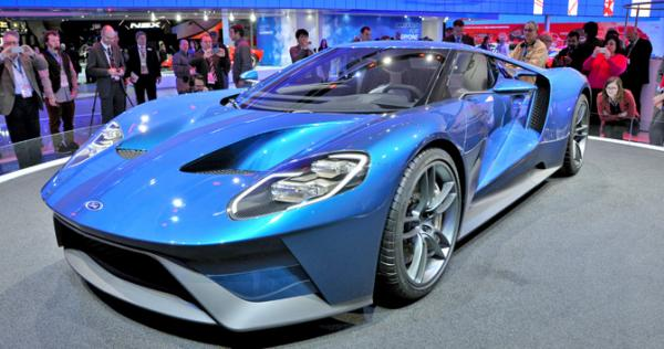 A Ford GT supercar is displayed at the North American International Auto Show in Detroit.