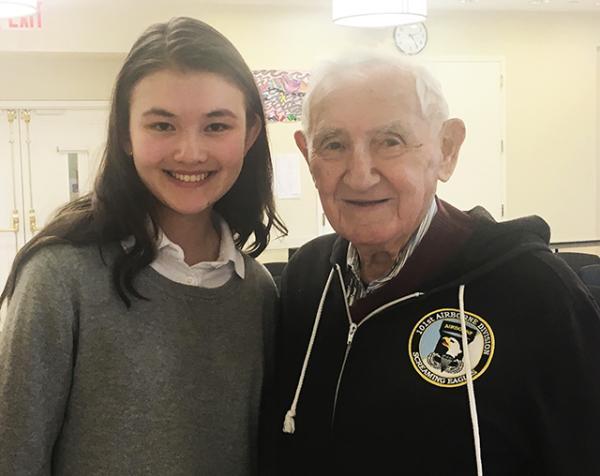 Charlotte with Holocaust survivor and veteran David Wisnia