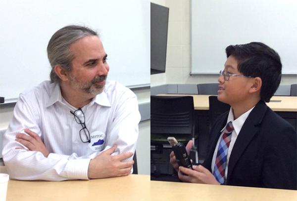 Alex talks with tournament director Dave Arnett about the middle school debate championship.