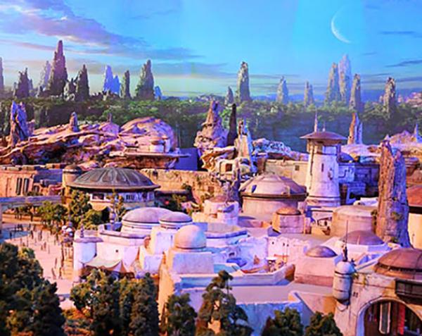 A model of a 14-acre theme area based on the Star Wars movie series. New attractions are slated to open in 2019 at Disneyland in California and Walt Disney World in Orlando, Florida.