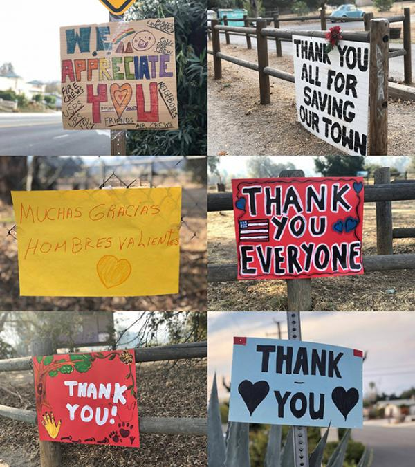 A collage of signs made by people in the community to express gratitude to first responders. (Photos by Simone Berkovitz)