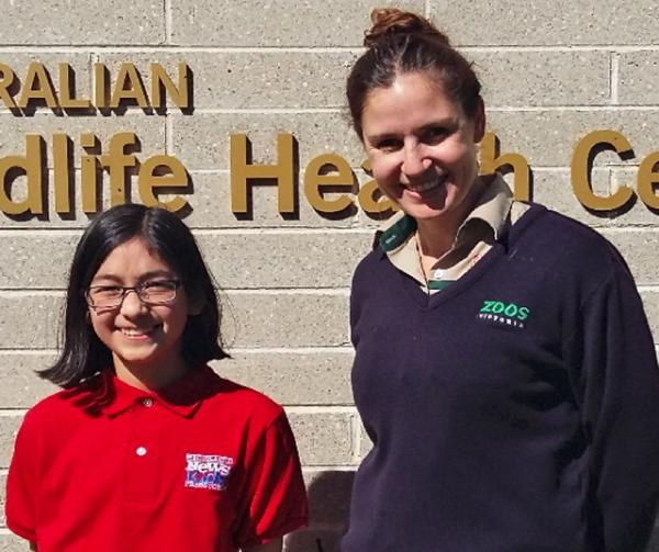 Helen Hong with vet, Claire Madden from Healesville Sanctuary, photo courtesy of the author