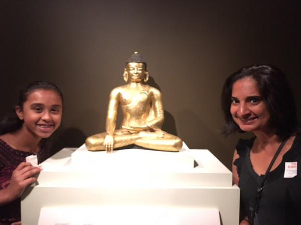 Sunaya and Mallika Chopra inside the Rubin Museum exhibition
