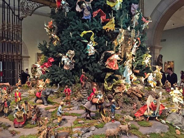 Detail of the Christmas tree at New York City's Metropolitan Museum