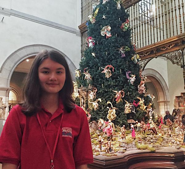 Charlotte in front of the Christmas tree at New York City's Metropolitan Museum