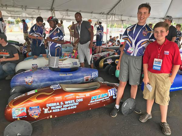 Nolan with Jacob West, a 15-year-old superstock racer from Omaha, Nebraska.