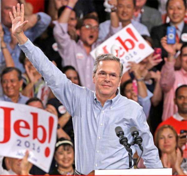 Former Florida Governor Jeb Bush waves to a crowd on June 15 at Miami Dade College, where he announced his bid for the Republican presidential nomination.