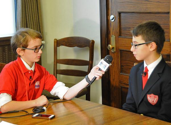Kid Reporter Joseph Gorman interviewing SHS student George Huebner