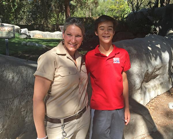 With Snow Leopard Animal Keeper Stephanie Zielinski at the Los Angeles Zoo on October 16th, 2017.