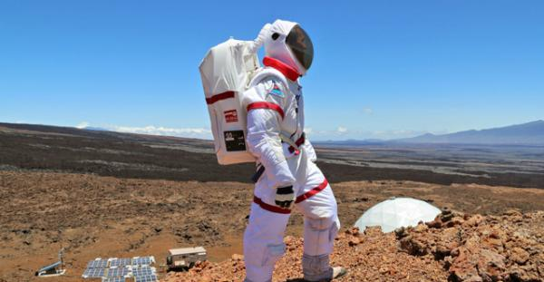 A researcher at NASA's simulated Mars habitat on the Big Island of Hawaii. Adapting to relative isolation is one of the challenges of the mission.