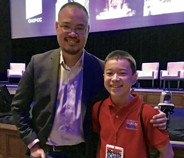 Max with Justin Chang, KPCC and LA Times film critic at the Theater at the Ace Hotel in Downtown Los Angeles