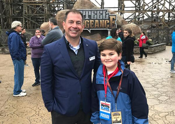 Nolan with Jason McClure, General Manager of Cedar Point