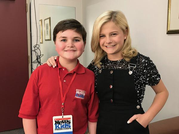 Kid Reporter Nolan Pastore with Darci Lynne prior to a recent show. backstage at the KeyBank State Theater in Cleveland, Ohio.