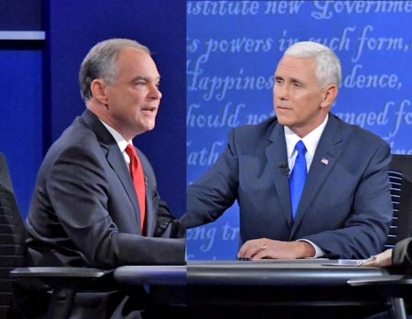 Kaine and Pence during Tuesday night's vice presidential debate