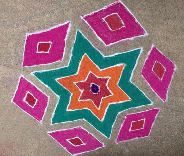 Rangoli made by my mother, Usha Parupudi. (Photo courtesy of the author)