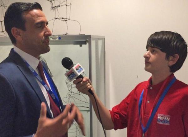 Benjamin interviewing Rene Pedrosa of America Teve of Miami, FL