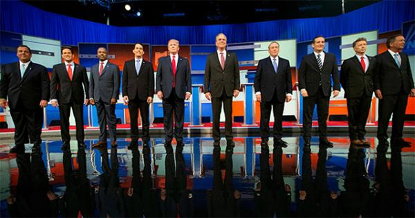 Who will be the Republican nominee? Left to right: New Jersey Governor Chris Christie, Florida Senator Marco Rubio, neurosurgeon Ben Carson, Wisconsin Governor Scott Walker, businessman Donald Trump, former Florida Governor Jeb Bush, former Arkansas Governor Mike Huckabee, Texas Senator Ted Cruz, Kentucky Senator Rand Paul, and Ohio Governor John Kasich.