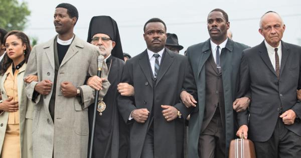 This scene from the movie shows civil rights leaders, including Martin Luther King Jr. (center, played by David Oyelowo), marching in 1965 in Alabama for the right to vote.
