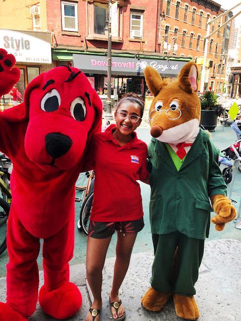 Sunaya with Clifford the Big Red Dog and Geronimo Stilton