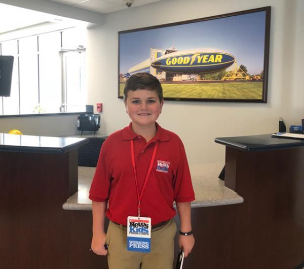 Nolan at the Goodyear hangar in Mogadore, Ohio