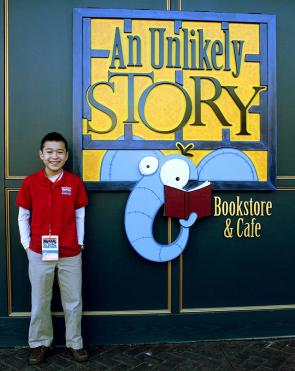 Max outside Kinney's bookstore in Plainville, Massachusetts