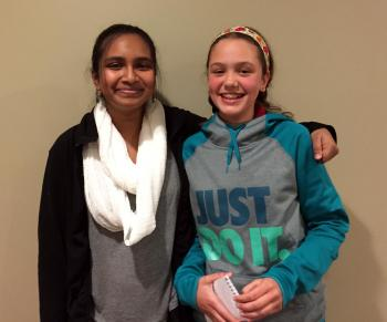 Lilian with fellow coder Naisha Bepar (left) at Marquette University