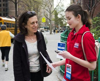 Charlotte talks with voter Caroline Blum in New York City.