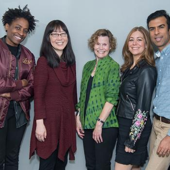 Left to right: Jacqueline Woodson, Debbie Ridpath Ohi, Judy Blume, Rachel Vail, and Soman Chainani celebrate Blume's life at Symphony Space in New York City.