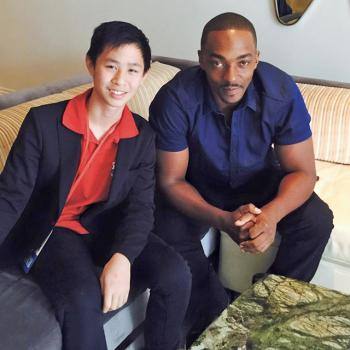 Jeremy with Anthony Mackie who plays the Falcon in Captain America: Civil War